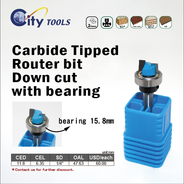 Carbide Tipped  Router bit  Down cut with bearing
